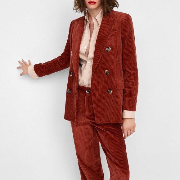 NWT Zara Double-Breasted Corduroy Blazer